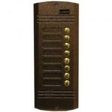 AVC-428-D (медь) Activision Цифровая вызывная универсальная аудио/видео,ч/б панель на 8 абонентов. Размеры: 220х90х30мм, врезная. Для работы с трубками LF-8, LM-8d или через коммутатор AVC-401C с мониторами
